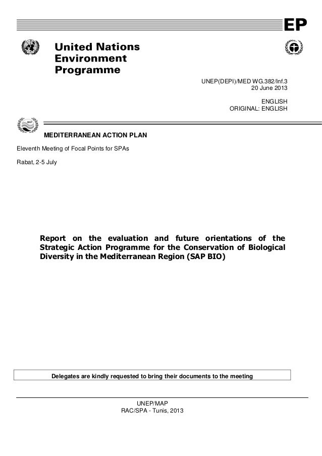 UNEP(DEPI)/MED WG.382/Inf.3 20 June 2013 ENGLISH ORIGINAL: ENGLISH MEDITERRANEAN ACTION PLAN Eleventh Meeting of Focal Poi...