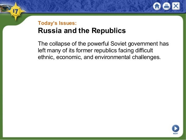 Today's Issues: Russia and the Republics The collapse of the powerful Soviet government has left many of its former republ...