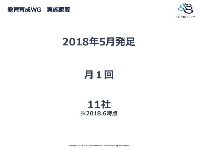 Copyright © 2018 AI Business Promotion Consortium All Rights Reserved. 教育育成WG 実施概要 2018年5月発足 月1回 11社 ※2018.6時点