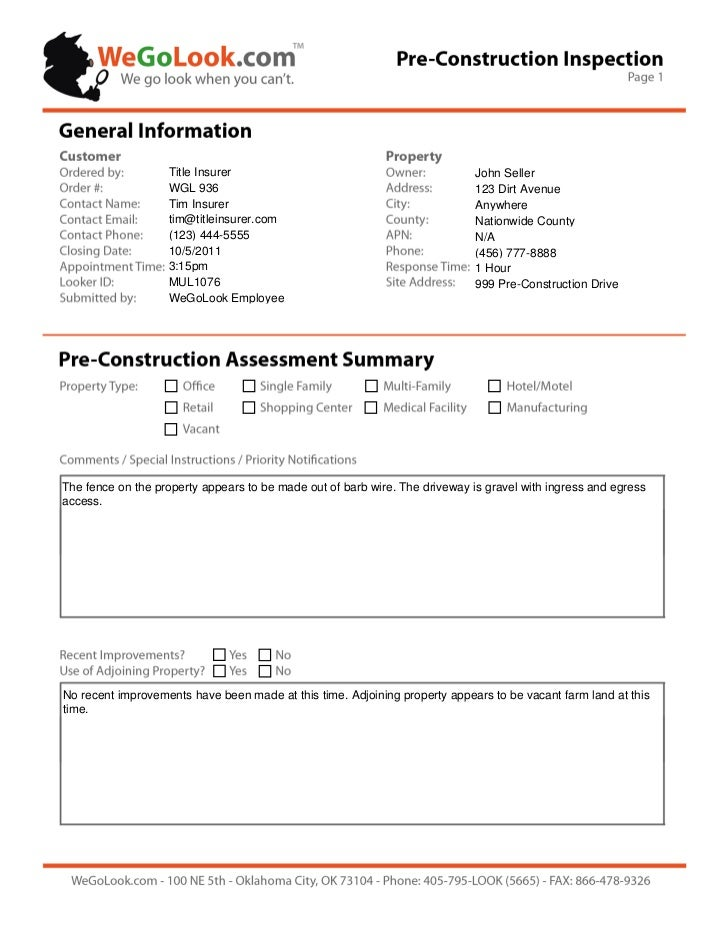 Field services pre construction onsite inspection sample for Construction site visit report template