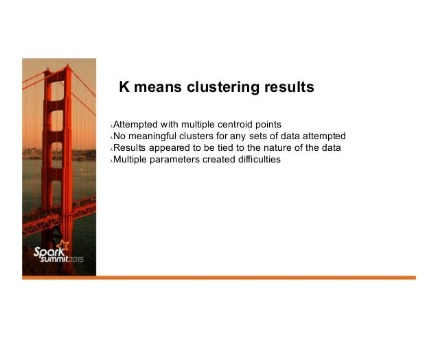 K means clustering results λAttempted with multiple centroid points λNo meaningful clusters for any sets of data attempt...