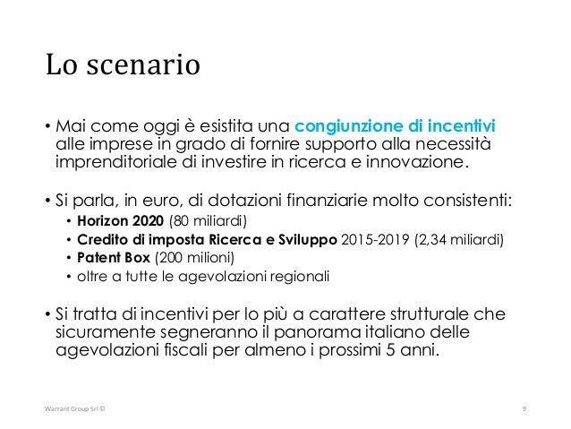 Un sistema di finanza per Ricerca e Innovazione HORIZON 2020 80 bln € CREDITO D'IMPOSTA RICERCA 2,34 bln € INDUSTRIA 4.0 2...