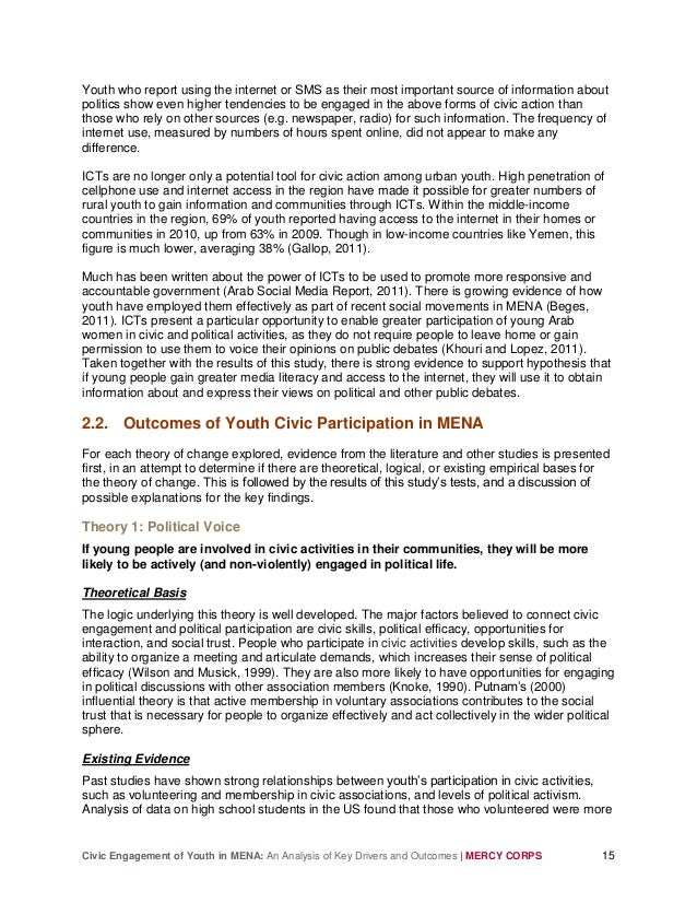 Civic Engagement of Youth in MENA: An Analysis of Key Drivers and Outcomes | MERCY CORPS 15 Youth who report using the int...