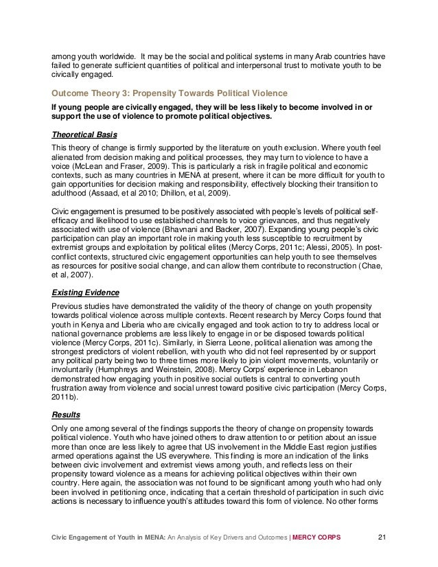 Civic Engagement of Youth in MENA: An Analysis of Key Drivers and Outcomes | MERCY CORPS 21 among youth worldwide. It may ...