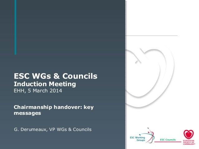 ESC WGs & Councils Induction Meeting EHH, 5 March 2014 Chairmanship handover: key messages G. Derumeaux, VP WGs & Councils