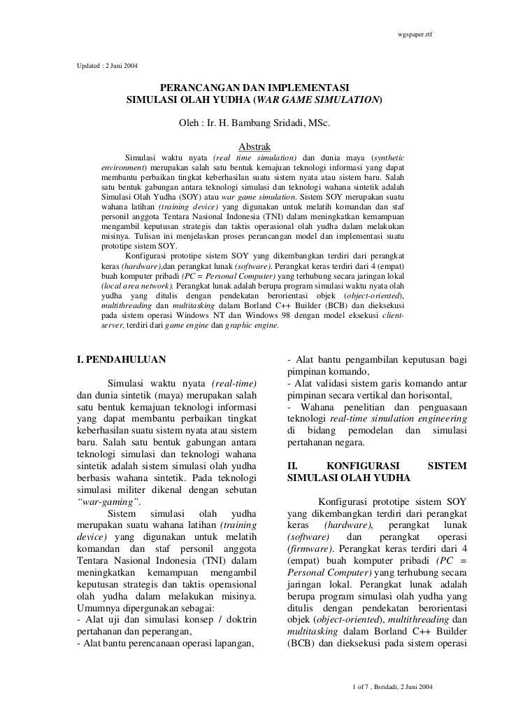 wgspaper.rtfUpdated : 2 Juni 2004                      PERANCANGAN DAN IMPLEMENTASI                 SIMULASI OLAH YUDHA (W...