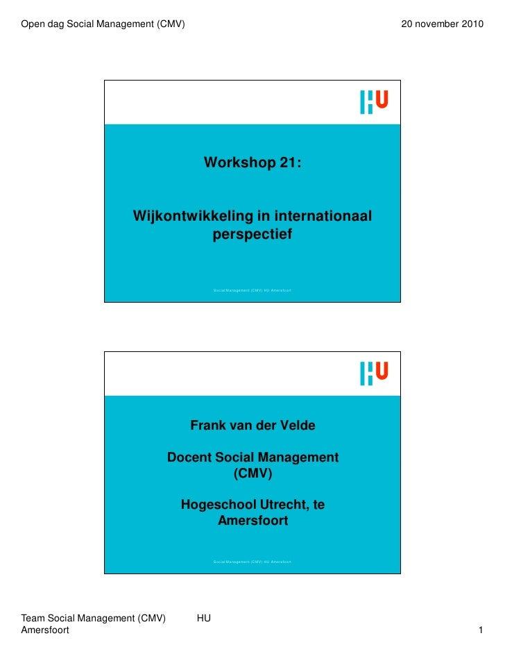 Open dag Social Management (CMV)                                                20 november 2010                          ...
