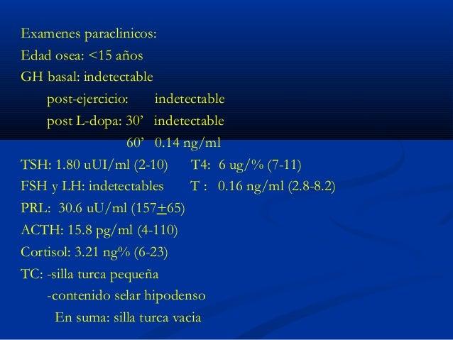 Evolucion: 13a11m P: 38.300 (-1.60DE) T: 145 cm (-2.22 DE) IMC: 18.2 Kg/m2 (-0.37 DE) Pubertad Tanner 4 Dosificacion de IG...