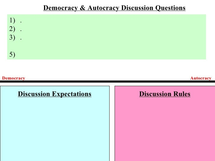 Democracy & Autocracy Discussion Questions  1) .  2) .  3) .  5)Democracy                                                 ...