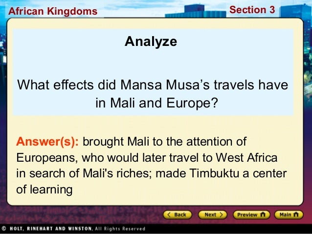 How did the world learn about Mali? - Brainly.com