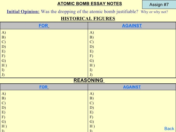 Pros and Cons of the Atomic Bomb in WWII Essay Sample