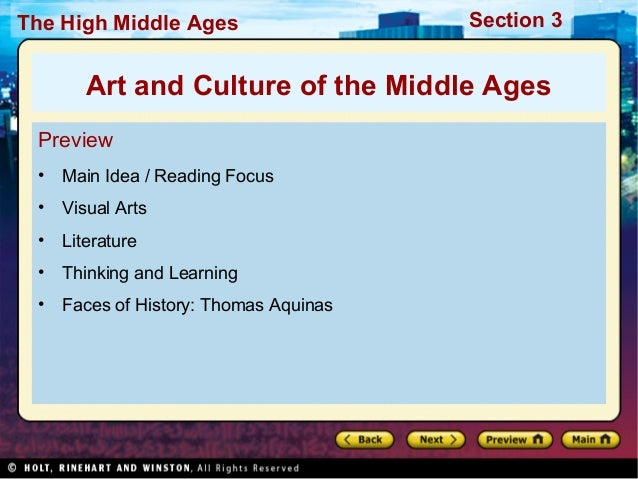 The High Middle Ages  Section 3  Art and Culture of the Middle Ages Preview •  Main Idea / Reading Focus  •  Visual Arts  ...