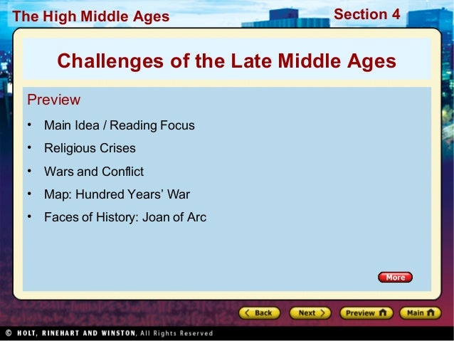 The High Middle Ages  Section 4  Challenges of the Late Middle Ages Preview •  Main Idea / Reading Focus  •  Religious Cri...