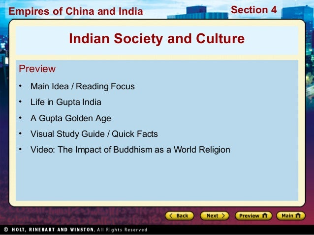 Empires of China and India  Section 4  Indian Society and Culture Preview •  Main Idea / Reading Focus  •  Life in Gupta I...