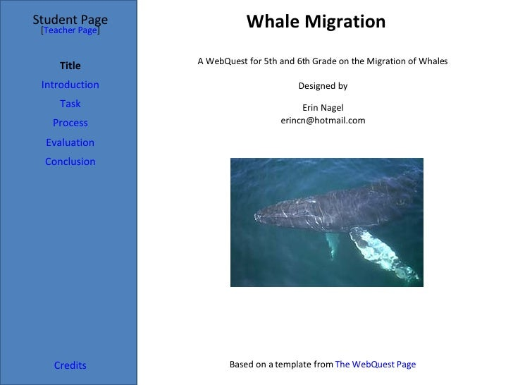 Whale Migration Student Page Title Introduction Task Process Evaluation Conclusion Credits [ Teacher Page ] A WebQuest for...
