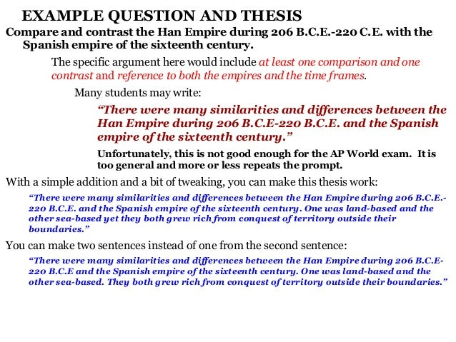 compare and contrast thesis statement samples