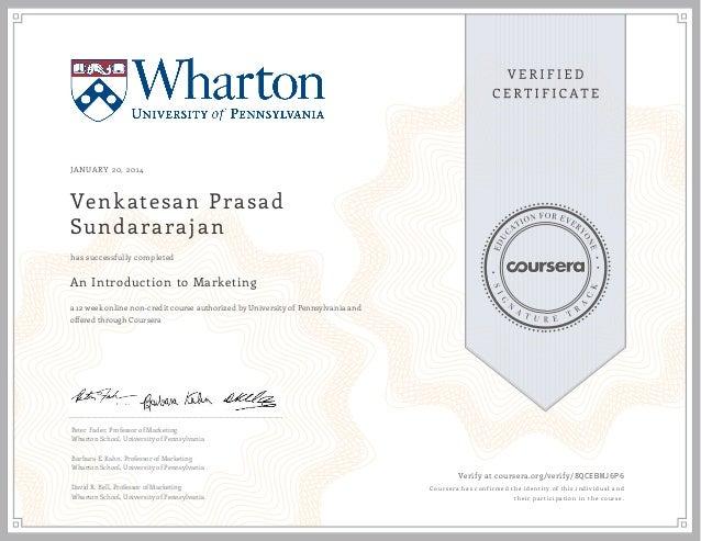 Wharton U Penn Intro To Marketing Certificate 2014 Vps