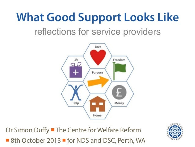 What Good Support Looks Like Dr Simon Duffy ■ The Centre for Welfare Reform ■ 8th October 2013 ■ for NDS and DSC, Perth, WA...