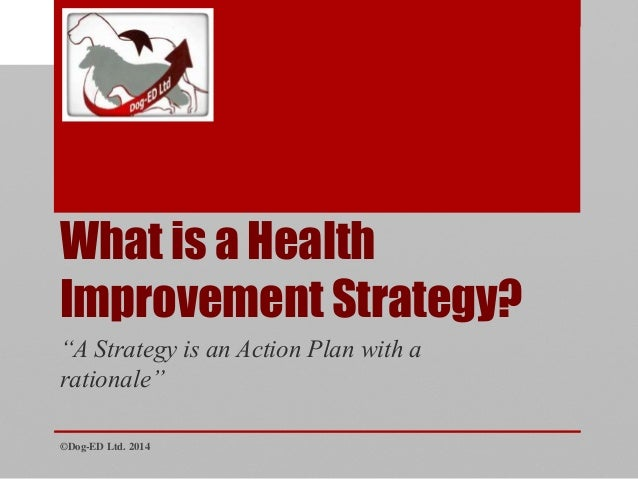 """What is a Health Improvement Strategy? ©Dog-ED Ltd. 2014 """"A Strategy is an Action Plan with a rationale"""""""