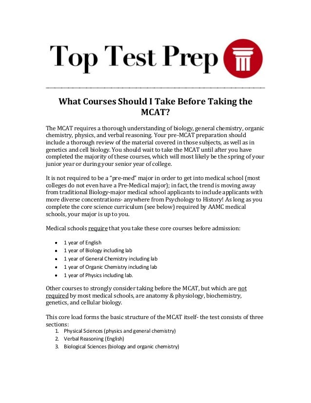What Courses Should I Take Before Taking the MCAT? | TopTestPrep.com