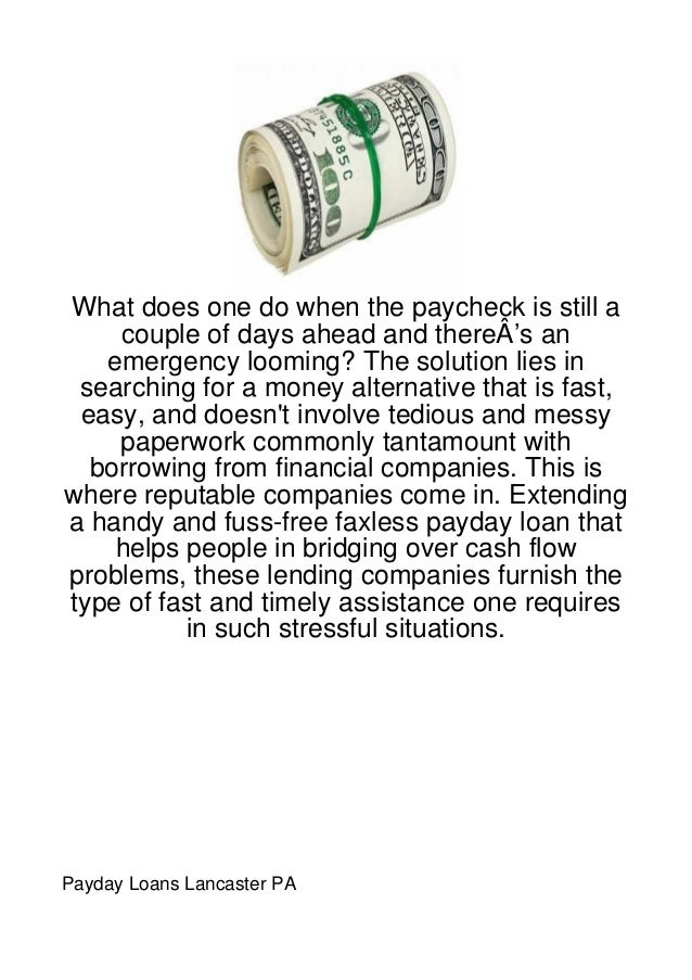What does one do when the paycheck is still a    couple of days ahead and thereÂ's an   emergency looming? The solution li...