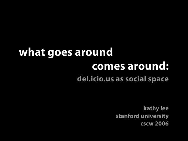 what goes around              comes around:           del.icio.us as social space                                  kathy l...