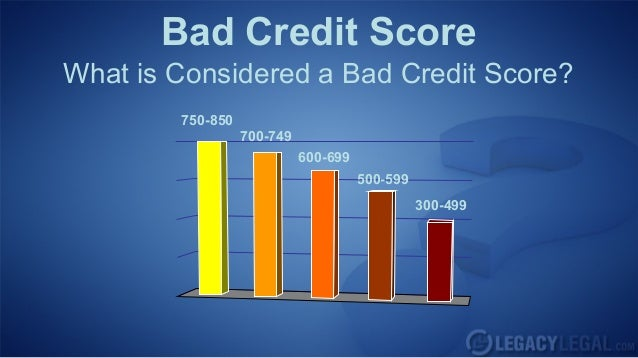 Bad Credit ScoreWhat is Considered a Bad Credit Score?750-850700-749600-699500-599300-499