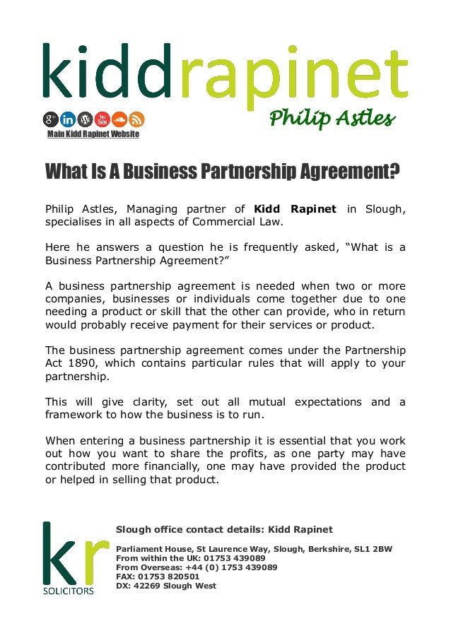What Is A Business Partnership Agreement