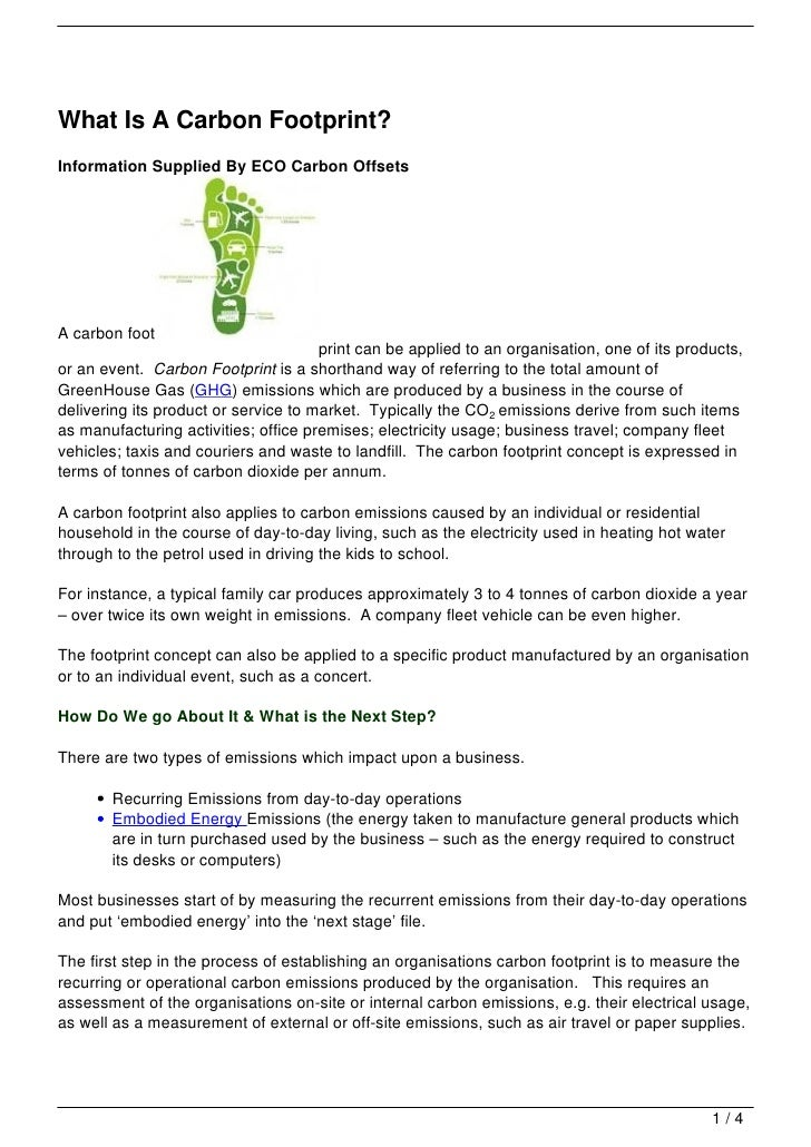 What Is A Carbon Footprint?Information Supplied By ECO Carbon OffsetsA carbon foot                                      pr...