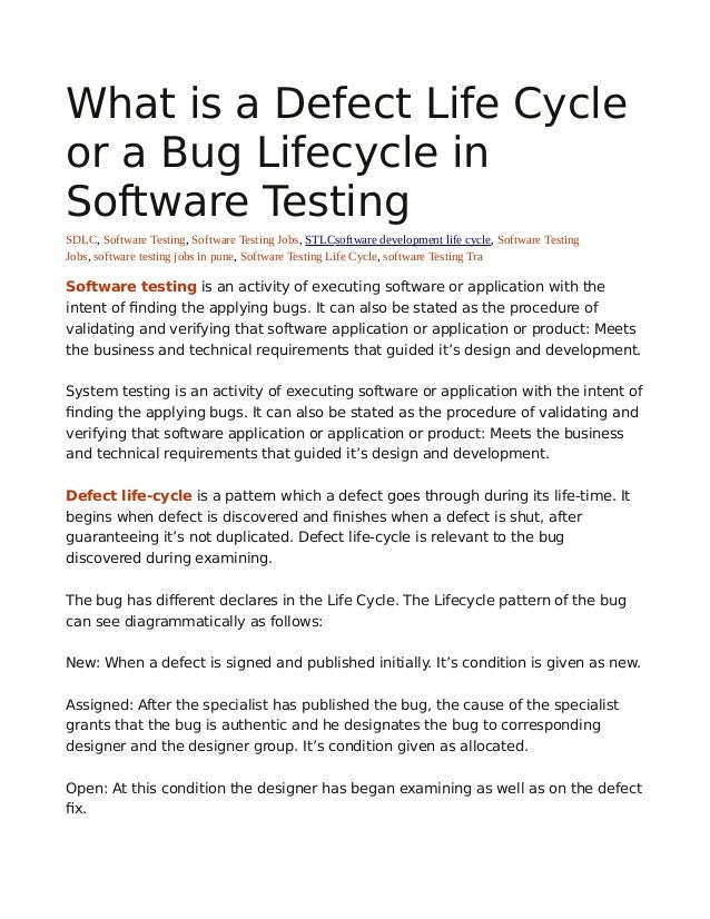 What Isadefectlifecycleorabuglifecycleinsoftwaretesting - Software testing requirements