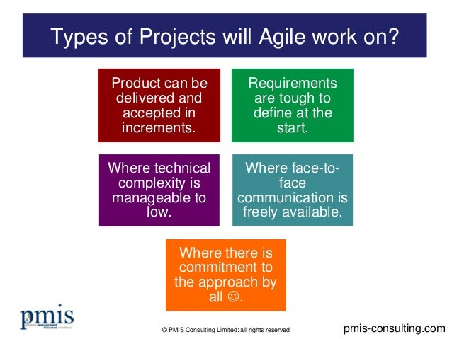 © PMIS Consulting Limited: all rights reserved Types of Projects will Agile work on? pmis-consulting.com Product can be de...