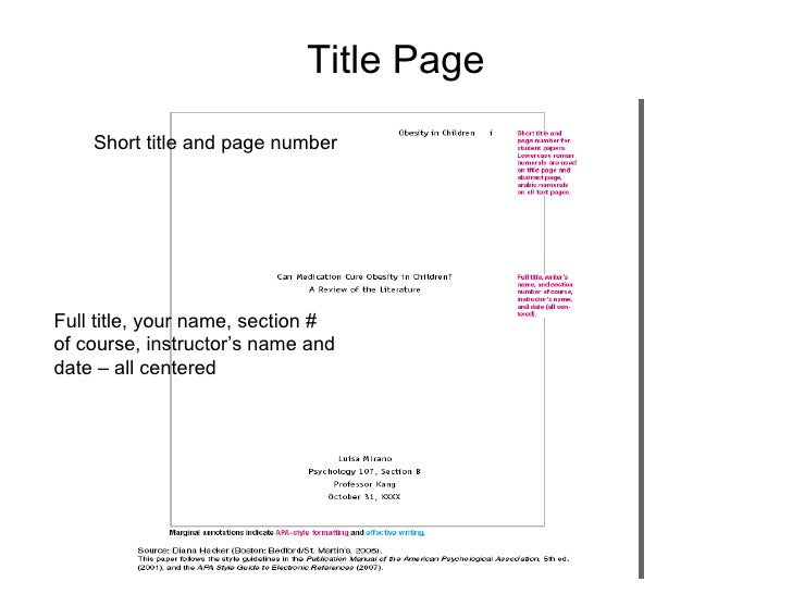 Where to put your name on apa paper