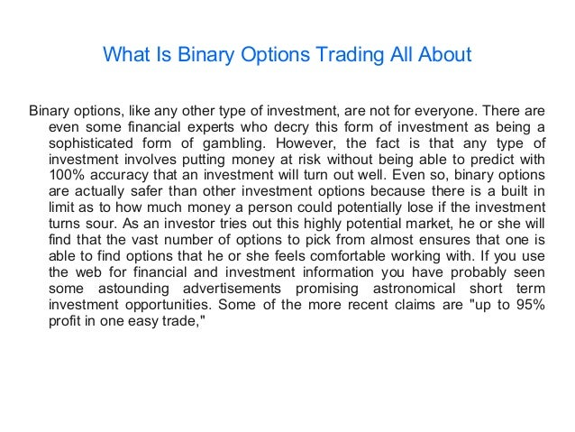 What does trading binary options mean