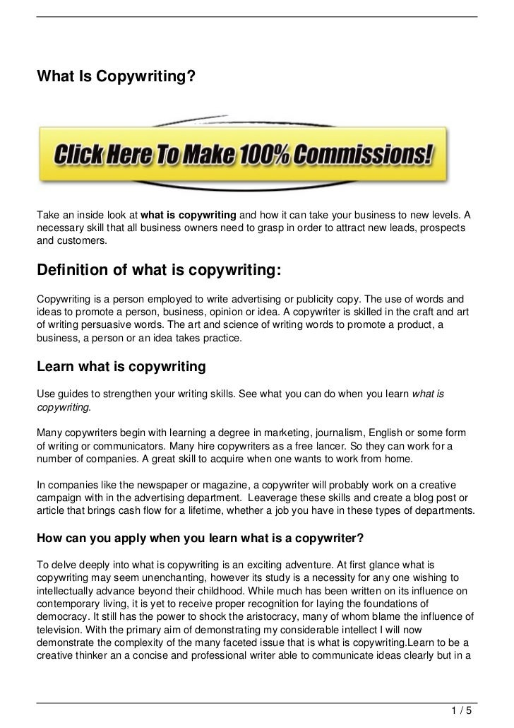 What Is Copywriting?Take an inside look at what is copywriting and how it can take your business to new levels. Anecessary...