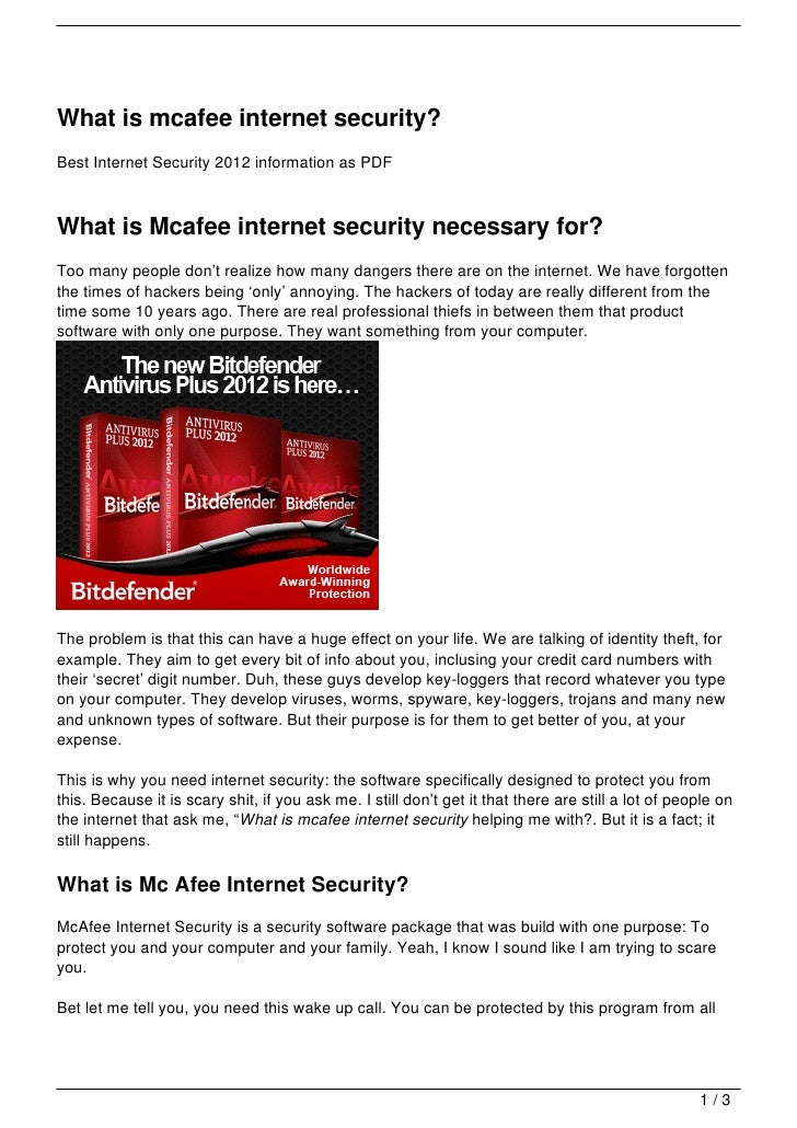 What is mcafee internet security?Best Internet Security 2012 information as PDFWhat is Mcafee internet security necessary ...