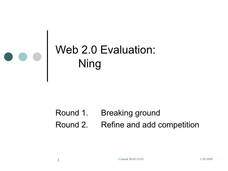 Web 2.0 Evaluation:  Ning Round 1. Breaking ground Round 2. Refine and add competition