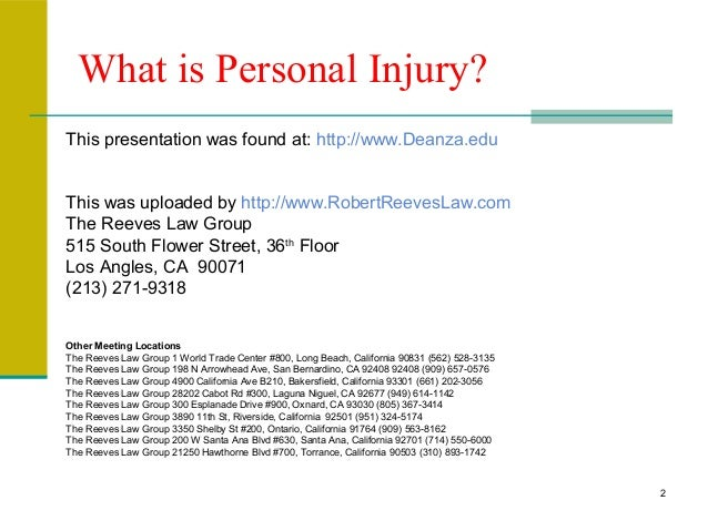 What Is Personal Injury A Great Slideshow From Deanza Edu