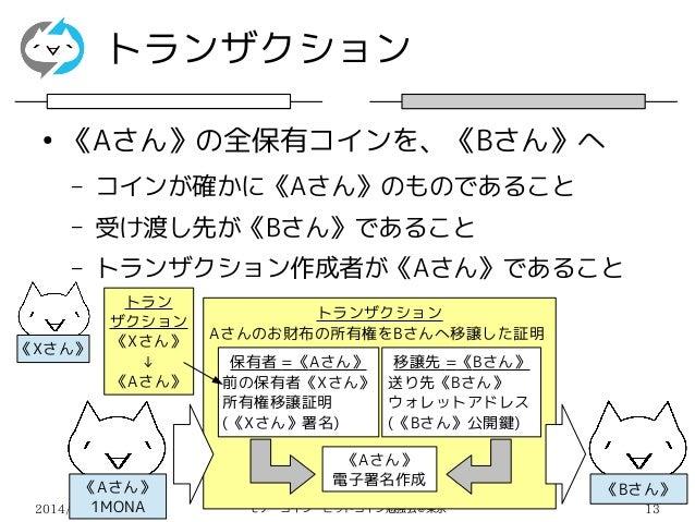 2014/03/15 モナーコイン・ビットコイン勉強会@東京 13 トランザクション ● 《Aさん》の全保有コインを、《Bさん》へ – コインが確かに《Aさん》のものであること – 受け渡し先が《Bさん》であること – トランザクション作成者が...