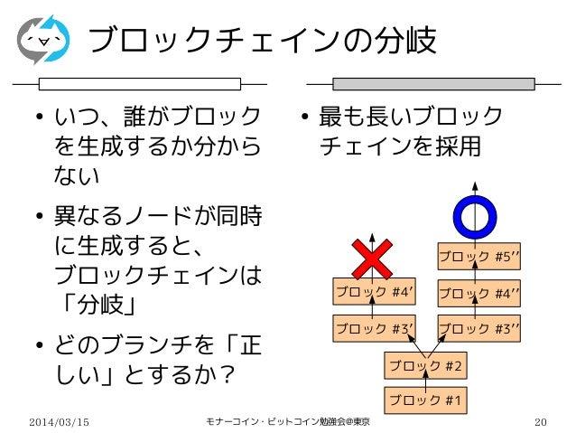 2014/03/15 モナーコイン・ビットコイン勉強会@東京 20 ブロックチェインの分岐 ● いつ、誰がブロック を生成するか分から ない ● 異なるノードが同時 に生成すると、 ブロックチェインは 「分岐」 ● どのブランチを「正 しい」と...