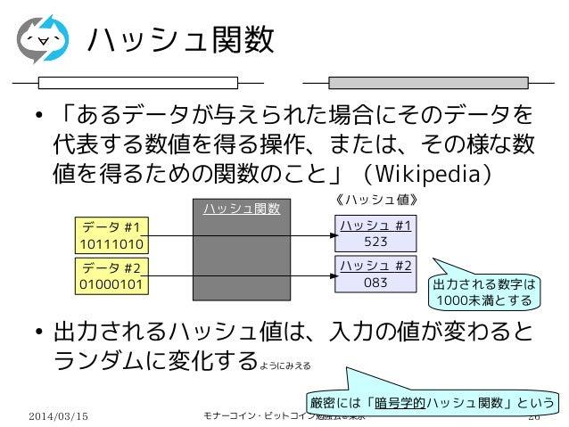 2014/03/15 モナーコイン・ビットコイン勉強会@東京 26 ハッシュ関数 《ハッシュ値》 ● 「あるデータが与えられた場合にそのデータを 代表する数値を得る操作、または、その様な数 値を得るための関数のこと」(Wikipedia) ● ...