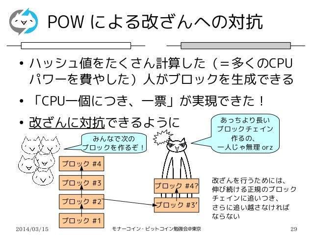 2014/03/15 モナーコイン・ビットコイン勉強会@東京 29 POW による改ざんへの対抗 ● ハッシュ値をたくさん計算した(=多くのCPU パワーを費やした)人がブロックを生成できる ● 「CPU一個につき、一票」が実現できた! ● 改...