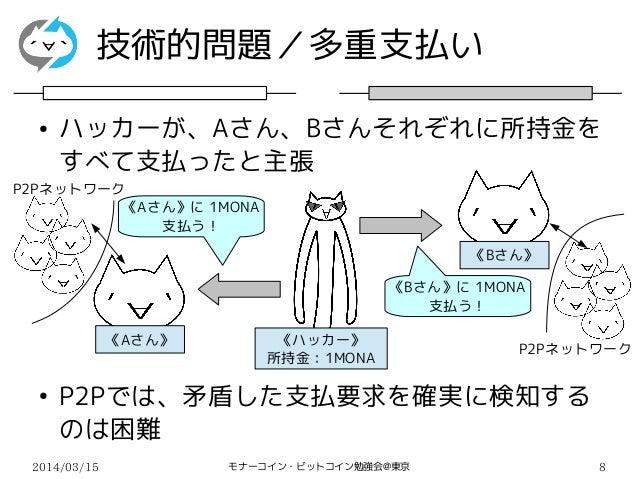 2014/03/15 モナーコイン・ビットコイン勉強会@東京 8 技術的問題/多重支払い ● ハッカーが、Aさん、Bさんそれぞれに所持金を すべて支払ったと主張 ● P2Pでは、矛盾した支払要求を確実に検知する のは困難 《Aさん》に 1MON...
