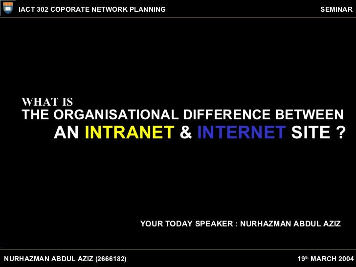 WHAT IS THE ORGANISATIONAL DIFFERENCE BETWEEN AN  INTRANET  &  INTERNET  SITE ? YOUR TODAY SPEAKER : NURHAZMAN ABDUL AZIZ ...