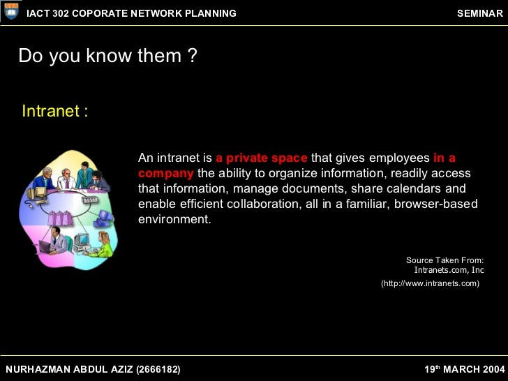 What is the organisational difference between Internet & Intranet? Slide 3