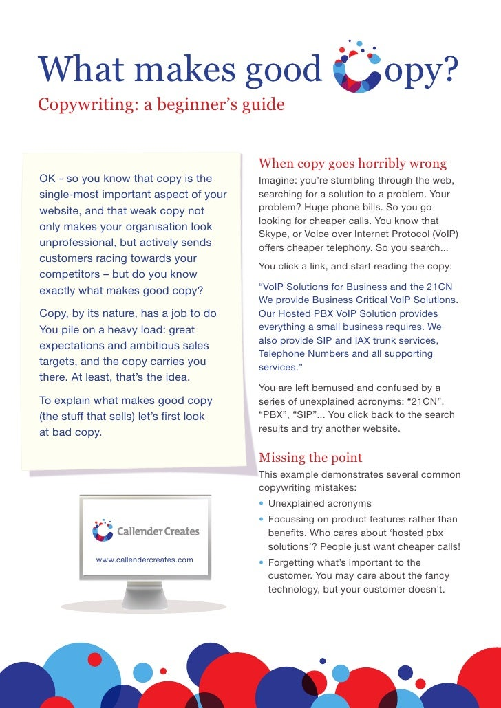 What makes good                                                        opy? Copywriting: a beginner's guide               ...