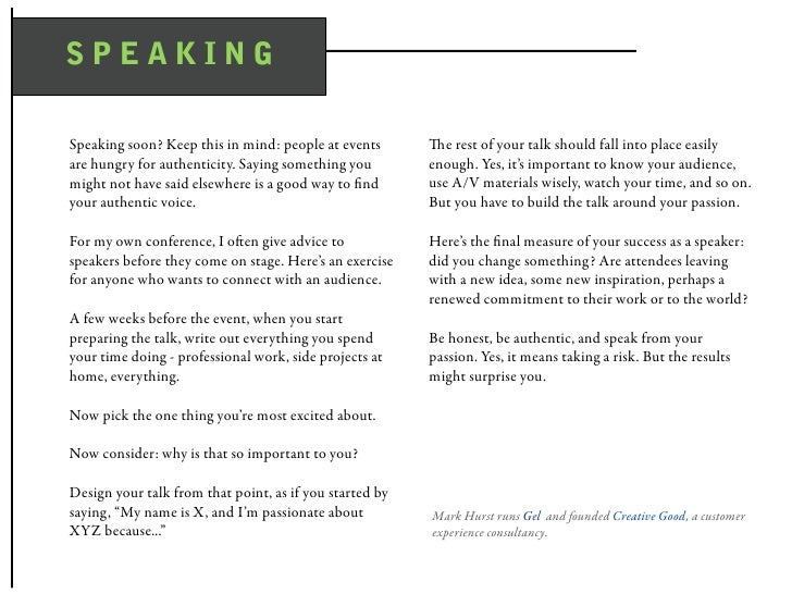 SPEAKING  Speaking soon? Keep this in mind: people at events       e rest of your talk should fall into place easily are ...