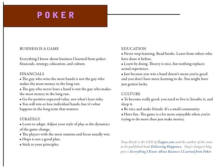 POKER   BUSINESS IS A GAME                                            EDUCATION                                           ...