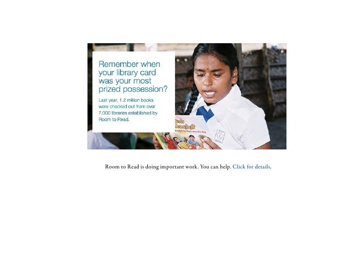 Room to Read is doing important work. You can help. Click for details.
