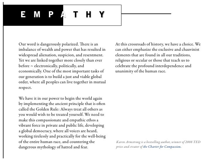 E M P A T H Y   Our word is dangerously polarized. ere is an           At this crossroads of history, we have a choice. W...