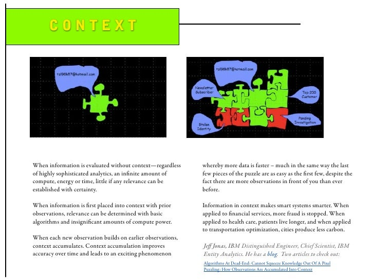 CONTEXT     When information is evaluated without context—regardless    whereby more data is faster – much in the same way...